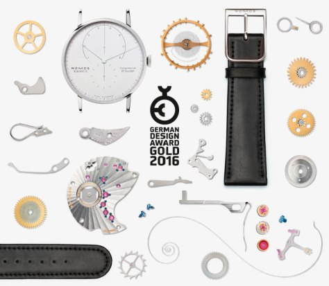 Nomos Lambda Oro Blanco premio German Design Award