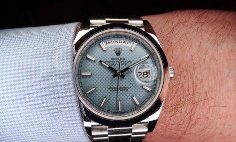 Rolex Oyster Perpetual Day Date platino esfera diagonales Horas y Minutos