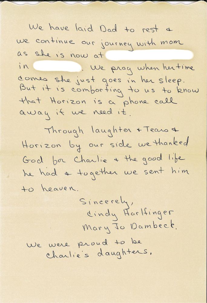 Read Beautiful Thank-You Note Written by Daughter of Horizon