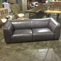 Manhattan Modern Grey Leather Sofa - Horizon Home Furniture