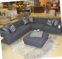 Five Piece Grey Sectional and Ottoman
