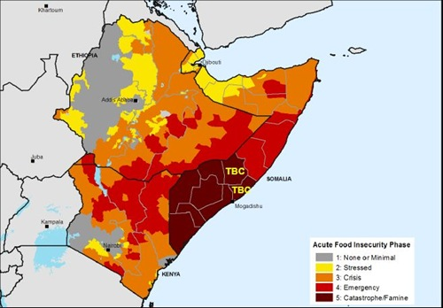 East Africa Famine map - projection for July – September 2011 FEWS-NET USAID