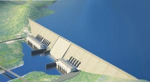 Grand Ethiopian Renaissance dam (Millennium dam) top view