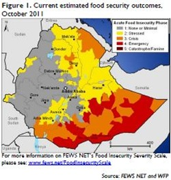 Figure 1 Current estimated food security outcomes, October 2011 [Source FEWS NET and WFP]
