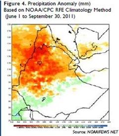 Figure 4 Precipitation Anomaly (mm), Based on NOAA-CPC RFE Climatology Method (June 1 to September 30 - 2011) [Source NOAAFEWS NET]