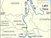 Nile river flow map - Uganda to Egypt