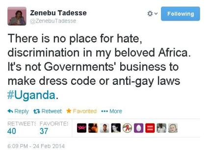 Ethiopia's Minister Zenebu Tadesse speaks against Ugandan anti-gay law
