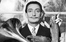 Salvador Dali with fish and French horn