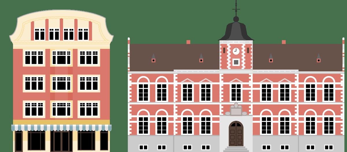 Illustration af Matas og Det gamle Rådhus