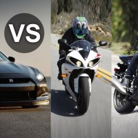 Nissan GT-R takes on Yamaha R1, GSX-R 1000 liter bikes, flat out