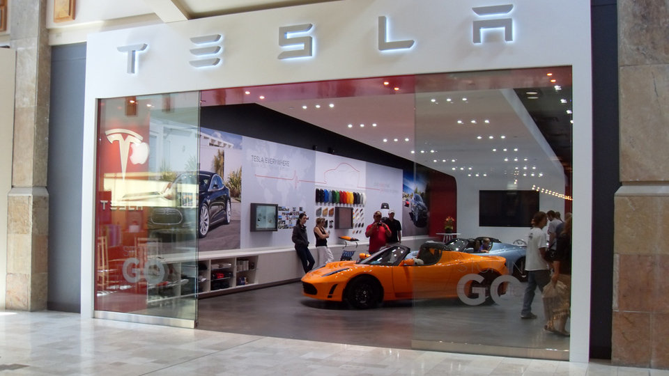 Tesla auto store in a shopping mall