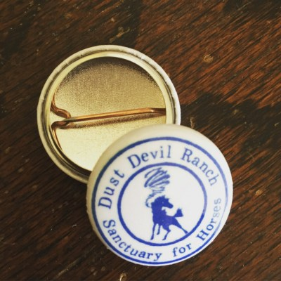 "1"" Pin with Dust Devil Ranch Sanctuary for Horses logo"