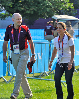 FEI President Princess Haya walks the Greenwich Park Olympic cross-country course with London 2012 equestrian manager Tim Haddaway.