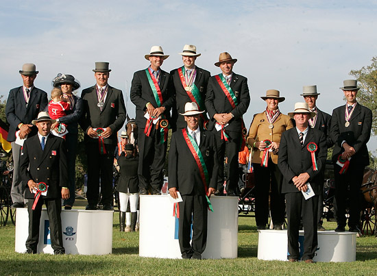 Double gold for Germany, double silver for Switzerland and double bronze for the Netherlands at the FEI World Single Driving Championships at Companhia das Lezirias, Portugal.