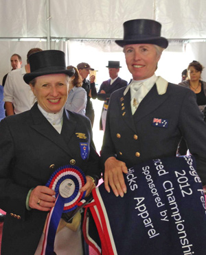 Victorian riders Kerry Mack and Mary Hanna with their spoils from Thursday.