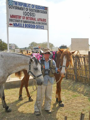 """Christy entering Southern Sudan. Despite the hardships, Christy remained supremely optimistic and wrote: """"Our love for each other and the horses, an opportunity to meet people, make friends, learn new things and live life to the full are what keep us going, through thick and thin."""""""