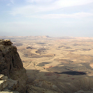 An erosion cirque in the Negev called a makhteshim. These cirques proved enough of a barrier that ass populations on either side of them became genetically distinguishable from one another.
