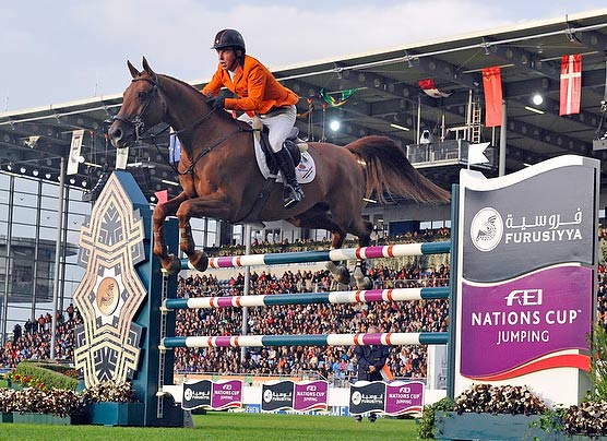 Gerco Schroder produced the only double-clear performance of the competition to help The Netherlands to victory in the Mercedes Benz Prize, part of the Furusiyya FEI Nations Cup Jumping 2013 series at Aachen.