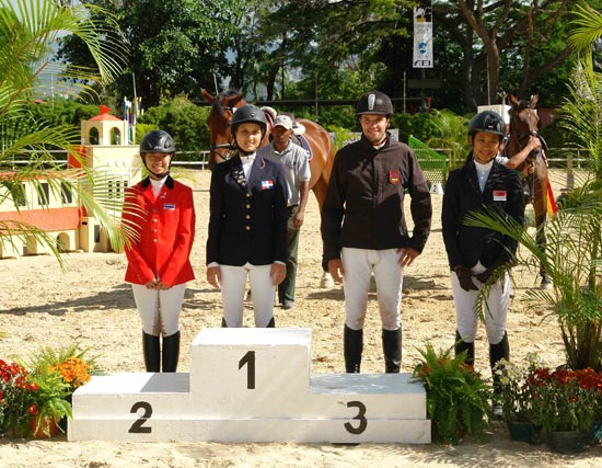 Pictured at the FEI World Jumping Challenge Final at the Caracas Country Club in Venezuela, L-R: silver medallist Siengsaw Lertratanachai (THA), gold medallist Isabel Sanchez (DOM), bronze medallist Philippe Burckel (MRI) and Janine Khoo (SIN) who finished just outside the medals in fourth place.