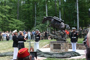 The statue in honor of Staff Sergeant Reckless.