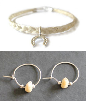 Top: Horse hair bracelet by British company Horsehairs; and bottom: horse teeth earrings by Anna Clair Thompson.