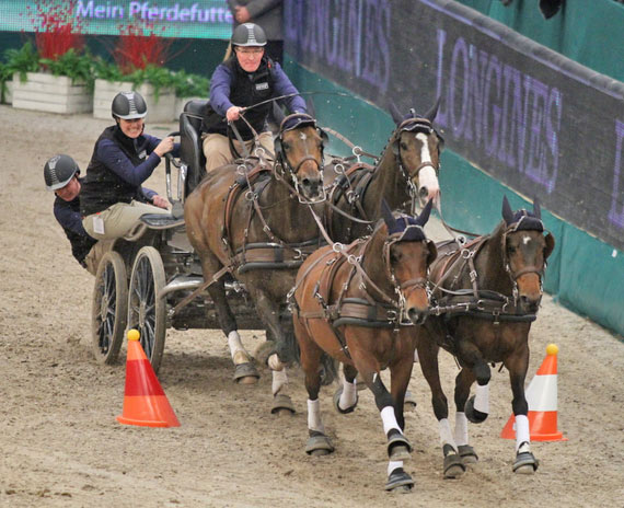 Daniel Schneiders and his four-in-hand team on their way to victory in the last qualifier of the FEI World Cup Driving series.