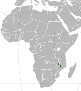 Location of Malawi in Africa.