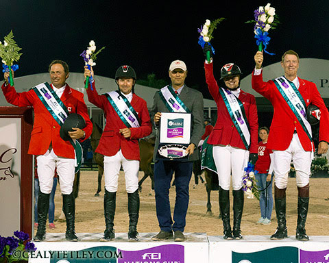 Team Canada picked up maximum points in the second Nations Cup leg in Florida. L-R: Yann Candele, Eric Lamaze, Tiffany Foster and Ian Millar, with Chef d'Equipe Mark Laskin.