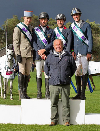 From left, France's Donatien Schauly, Eric Vigeanel, Nicolas Touzaint and Maxime Livio with Chef d'Equipe Thierry Touzaint (centre) dominated the opening leg of FEI Nations Cup Eventing 2014 at Fontainebleau (FRA).