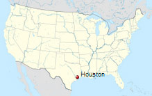Location of Houston in Texas, USA.