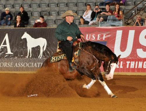 Shawn Flarida and Spooks Gotta Whiz, winner of the Kentucky Reining Cup.