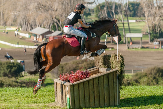 BMW Ripley and Lauren Alexander on the cross country at Woodhill Sands.