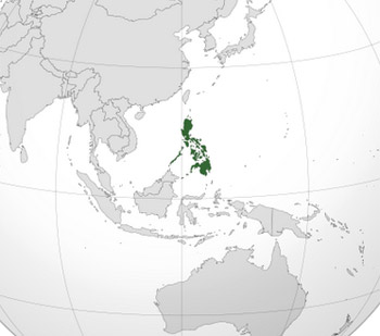 Orthographic map showing the location of the Philippines.