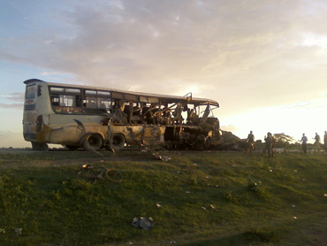 The bus involved in the horror smash that claimed the life of Christy Henchie.