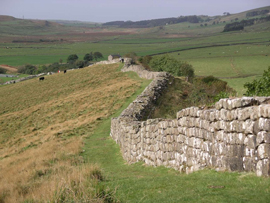 A section of Hadrian's wall at Greenhead Lough. Photo: Velella