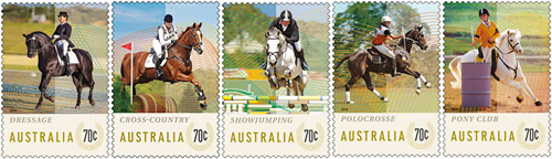 Australia's new Equestrian Events stamp issue.
