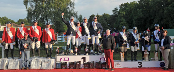 On the winner's podium at the FEI European Jumping Championships for Veterans 2014 at Hoogboom-Kapellen in Belgium, L-R: Germany (silver), Belgium (gold) and Great Britain (bronze).