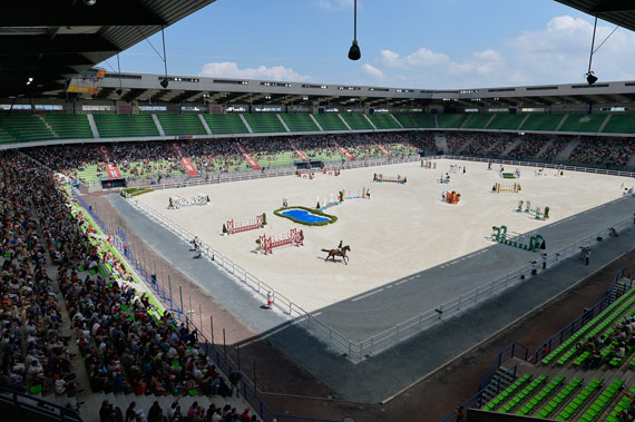 The jumping test event at d'Ornano stadium in June.