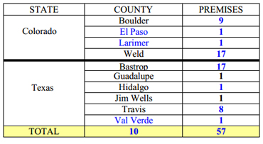 Counties currently with positive premises remaining under quarantine. The blue figures are those that have updates since the last weekly situation report. Graphic: APHIS