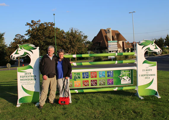 Bryan Harris and Jane Thompson by the showjump in the middle of the roundabout near the Stade D'Ornano.