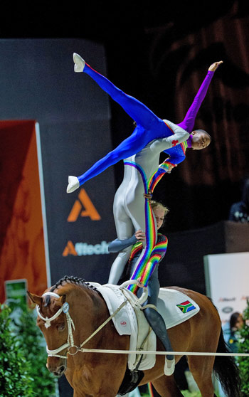 The South African Vaulting squad were a big hit with spectators on the second day of competition at the Alltech FEI World Equestrian Games.