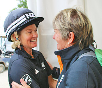 Go girl! New Zealand's Jonelle Price gets a congratulatory hug from her mum, Leslie Richards.