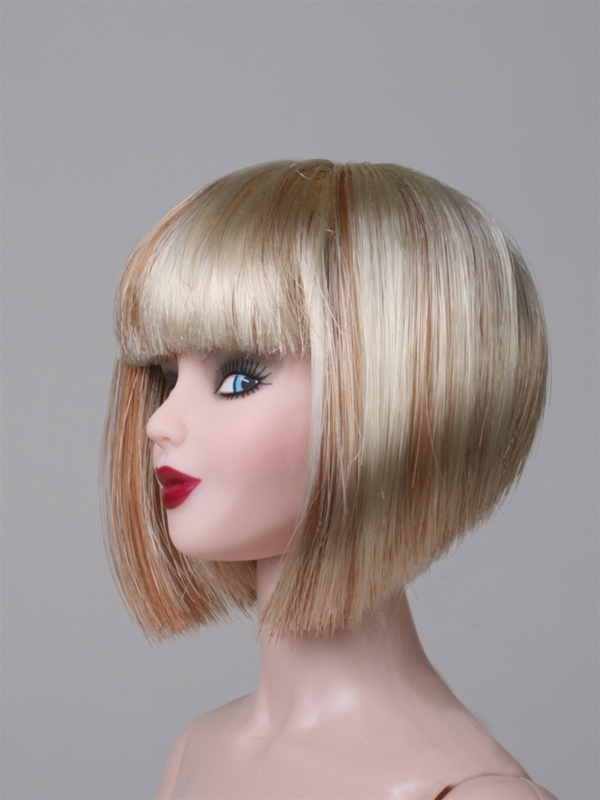 Bob Wigs Halloween Short Bob Wig Blonde With Red Highlite Doll Not Included