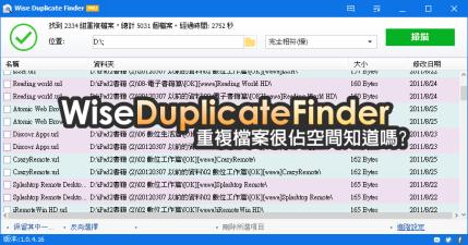 Wise Duplicate Finder 1.3.8 你知道重複檔案也佔據很多空間嗎?