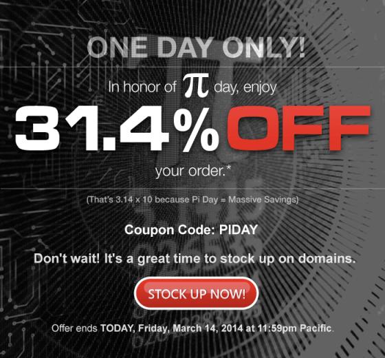 Pi Day - 31.4% off no minimum