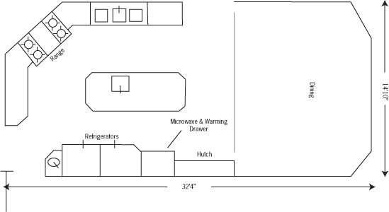 Kris Allen Daily- plan with dimensions and nomenclature Kitchen - kitchen design plans