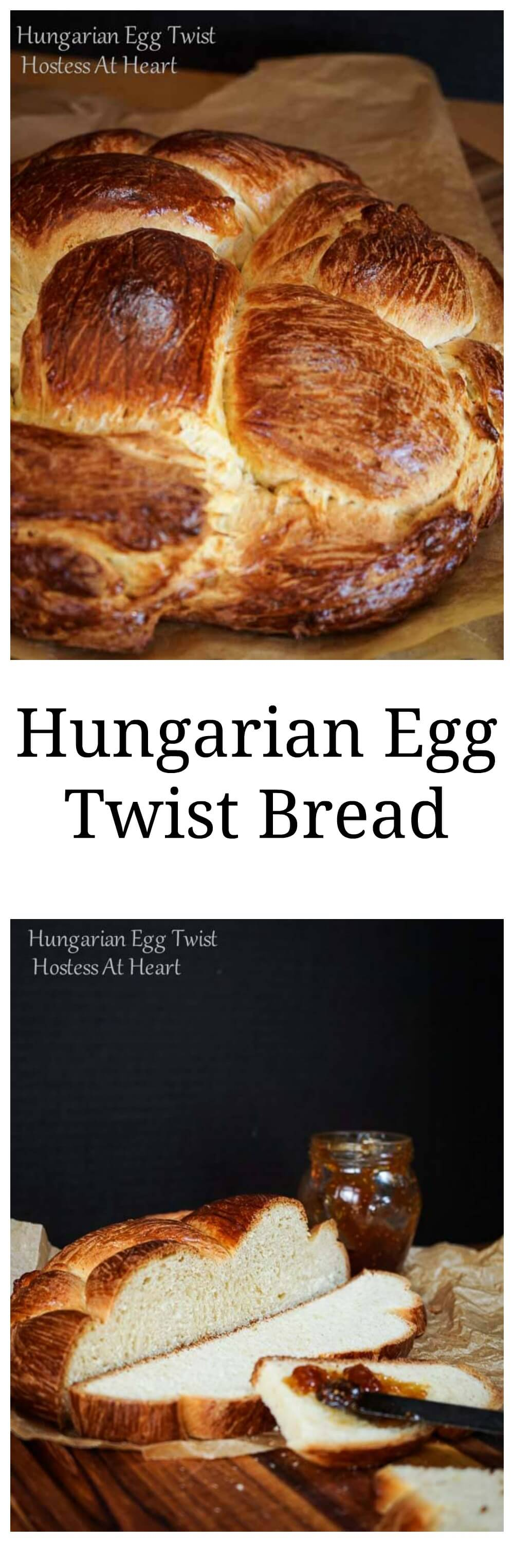 Hungarian Egg Twist bread is perfect for everyday or dressed up for a special occasion.  You can sprinkle in nuts and dried fruit or other additions to this sweetened bread or eat it as is.   HostessAtHeart.com