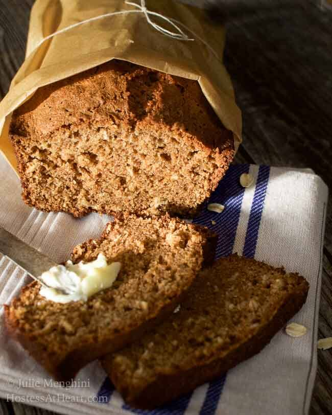 This Applesauce Oatmeal bread recipe is a quick, easy and delicious. It's perfect as is or you can add nuts, raisins or other additions to your liking | HostessAtHeart.com