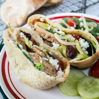 This Chicken Gyro recipe is quick, easy and delicious. It's great in a pita or as a salad. for lunch or dinner   Hostess At Heart