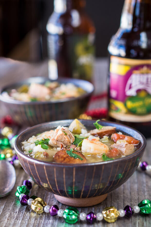 Gumbo is a traditional southern soup or stew, that is a delicious dish anytime, and a great way to celebrate Mardi Gras | HostessAtHeart.com